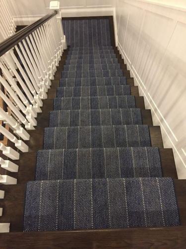 Navy Patterned Stair Runner
